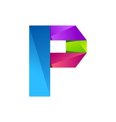P letter one line colorful logo design template vector