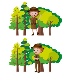 Park rangers and forest background vector