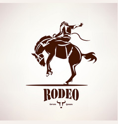 rodeo horse symbol stylized silhouette vector image