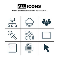 Set of 9 web icons includes local connection vector