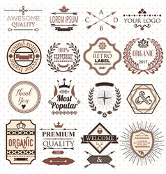 Set of retro design labels and elements vector