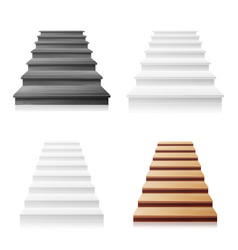 Staircase set white wooden dark 3d vector