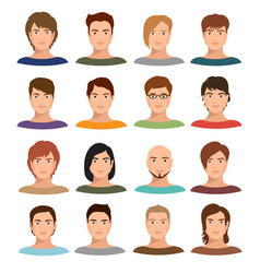 young cartoon man portraits with various hairstyle vector image vector image