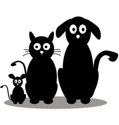 cat dog and mouse cartoon silhouette vector image