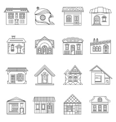 House set in outline style vector