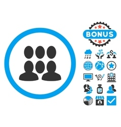 Crowd flat icon with bonus vector