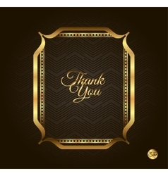 Thank you Golden frame Vintage gold background vector image