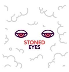 Marijuana stoned eyes on smoke clouds background vector