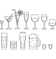 Set of full goblets vector
