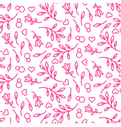 Pink line floral 8 march seamless pattern vector