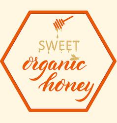 hand drawn lettering -sweet organic honey elegant vector image