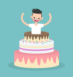 young character jumping out of a cake flat vector image