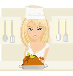 Beautiful lady cooking chicken or turkey in the vector