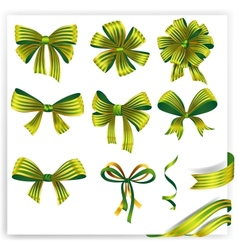 Set of green striped gift bows with ribbons vector