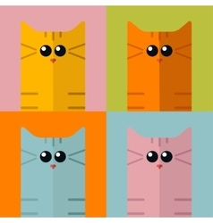Pop art stylization colorful cats vector