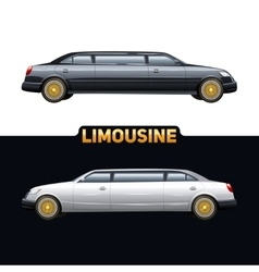 Limousine auto two banners set vector