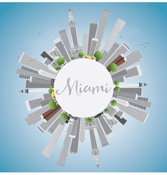 Miami skyline with gray buildings blue sky vector