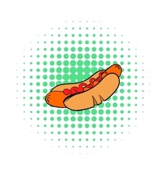 Hotdog with mustard icon comics style vector