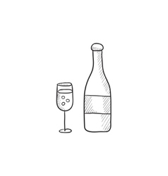 Bottle of champaign and glass sketch icon vector