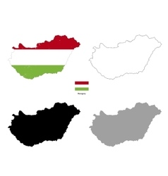 Hungary country black silhouette and with flag on vector