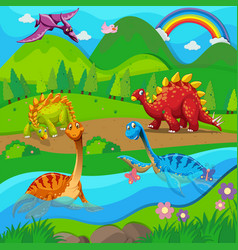 Background scene with dinosaurs by the river vector