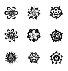 black flower icon set simple style vector image