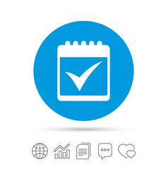 Calendar sign icon check mark symbol vector