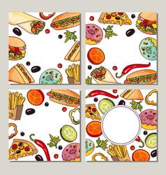 Cartoon flat fast food template set vector