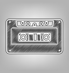 Cassette icon audio tape sign pencil vector
