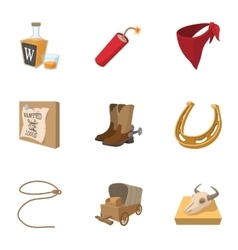 Cowboys of Wild West icons set cartoon style vector image vector image