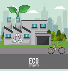 Eco lifestyle building industrial recycle bike vector