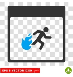 Fire evacuation man calendar page eps icon vector