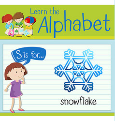 Flashcard letter s is for snowflake vector