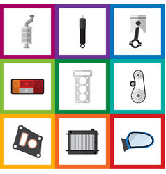 Flat icon auto set of auto component packing vector