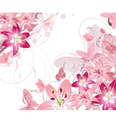 Floral pattern lilies vector