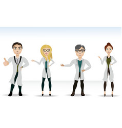 Four doctors in lab coats vector