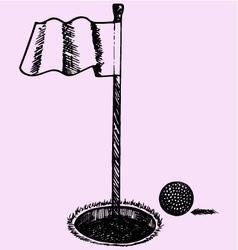 Golf ball flag vector