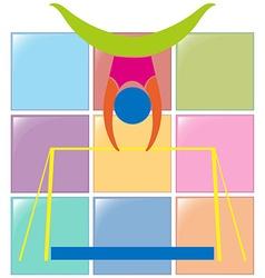 Gymnastics on bar in colors vector image