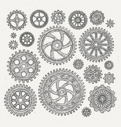 industrial set of mechanical metal vector image
