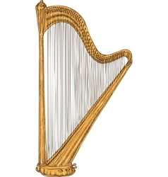 Isolated golden harp vector