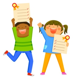 Kids with report cards vector
