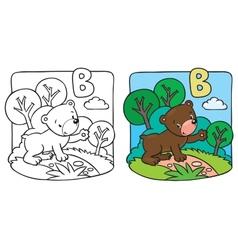 Little teddy bear coloring book Alphabet B vector image vector image