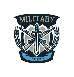 Logo emblem military weapons machine guns vector