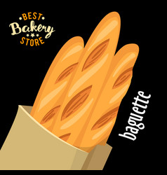paper bag with french baguettes baked vector image vector image