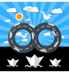 Paper origami infinity road with cars ocean boats vector