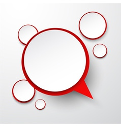 Paper white-red round speech bubbles vector