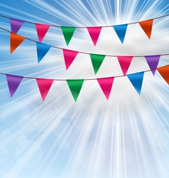 Party Background with Buntings Flags Garlands vector image vector image