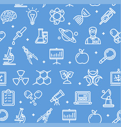 Science research flat pattern with thin line icons vector