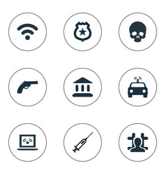 set of simple fault icons vector image vector image