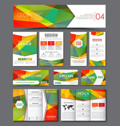 Templates polygonal corporate identity in the set vector